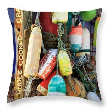 Buoys At The Crab Shack Throw Pillow