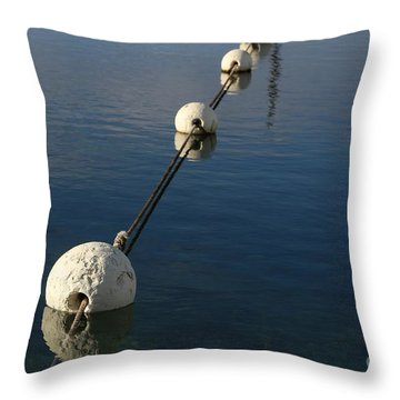 Throw Pillow featuring the photograph Buoys In Aligtnment by Stephen Mitchell