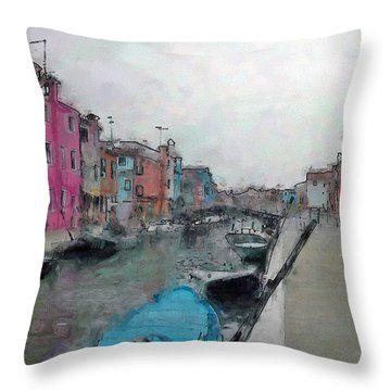 Burano Throw Pillow by Dee Flouton