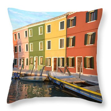 Burano Italy 1 Throw Pillow by Rebecca Margraf