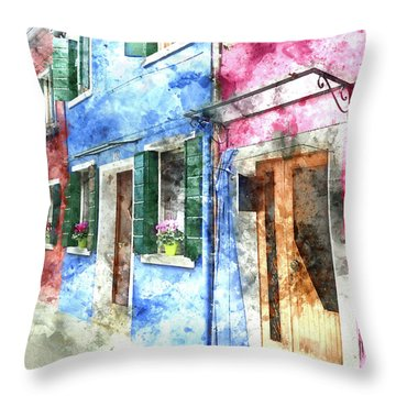 Burano Italy Buildings Throw Pillow