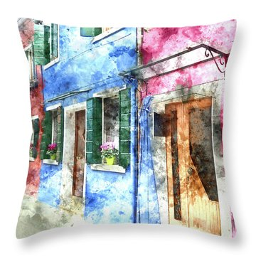 Burano Italy Buildings Throw Pillow