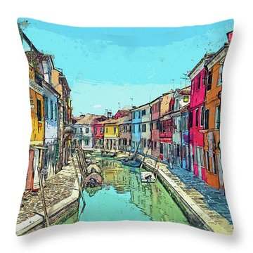 Burano Sketch Throw Pillow