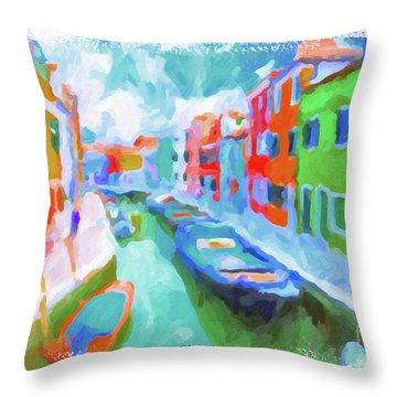 Burano, Venice, Italy Throw Pillow by Chris Armytage