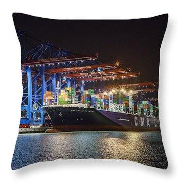Burchardkai Hamburg Throw Pillow