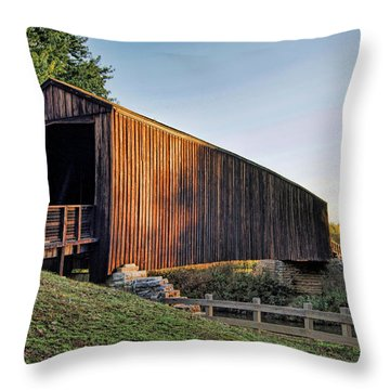 Throw Pillow featuring the photograph Burfordville Covered Bridge by Cricket Hackmann