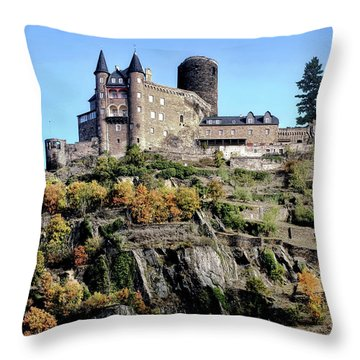 Burg Katz - Rhine Gorge Throw Pillow by Jim Hill