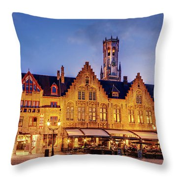 Burg Square Architecture At Night - Bruges Throw Pillow
