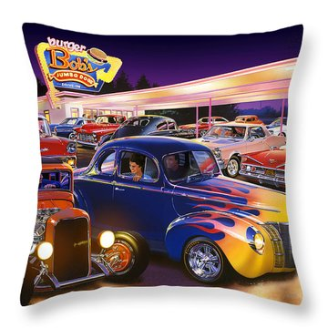 Burger Bobs Throw Pillow
