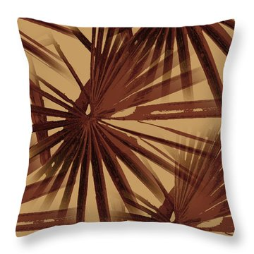 Burgundy And Coffee Tropical Beach Palm Vector Throw Pillow