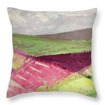 Burgundy Fields Throw Pillow