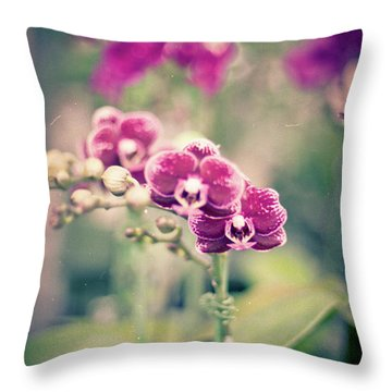 Burgundy Orchids Throw Pillow by Ana V Ramirez