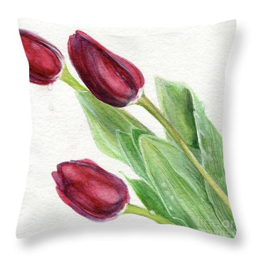 Burgundy Tulips Throw Pillow