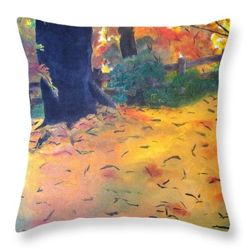 Throw Pillow featuring the painting Buried In Autumn Leaves by Gary Smith
