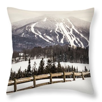 Burke Mountain And Fence Throw Pillow