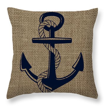 Burlap Anchor Throw Pillow by Brandi Fitzgerald