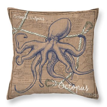Burlap Octopus Throw Pillow by Debbie DeWitt