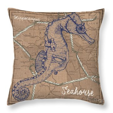Burlap Seahorse Throw Pillow