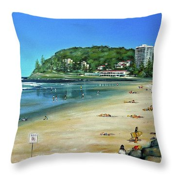 Throw Pillow featuring the painting Burleigh Beach 100910 by Selena Boron