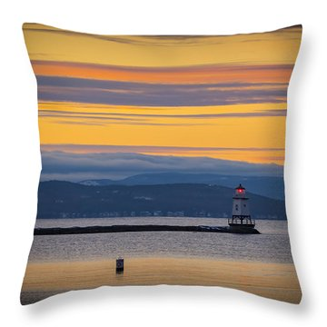 Burlington Lighthouse Sunset Throw Pillow
