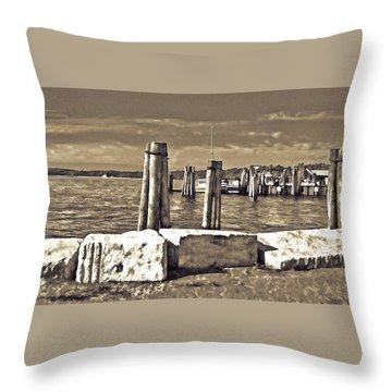 Burlington Pier Throw Pillow by Rena Trepanier