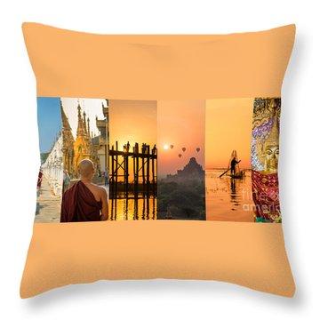 Burma Collage Throw Pillow