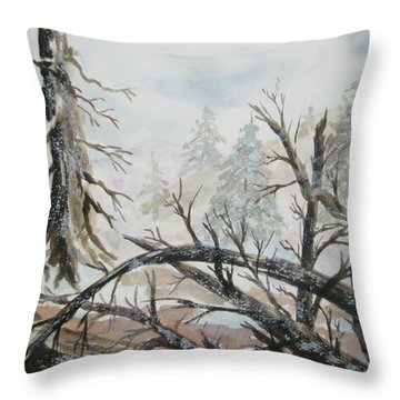 Throw Pillow featuring the painting Burned Forest In The Snow by Ellen Levinson