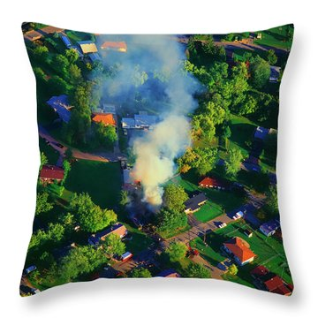Throw Pillow featuring the photograph Burnin Down The House Aerial Single Family Home On Fire  by Tom Jelen