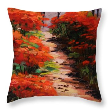 Burning Bush Along The Lane Throw Pillow by John Williams