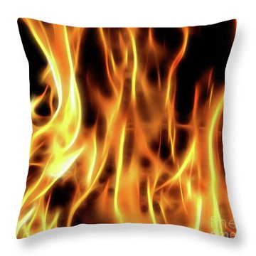 Burning Flames Fractal Throw Pillow