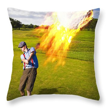 Burning Golf Ball Throw Pillow