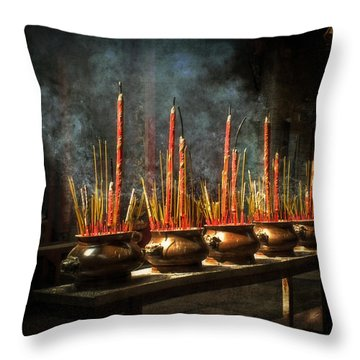 Burning Incense Throw Pillow