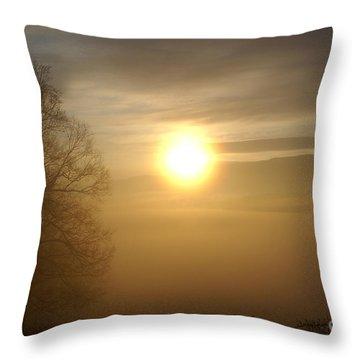 Burning Off The Fog Throw Pillow by Annlynn Ward