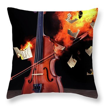 Burning With Music Throw Pillow