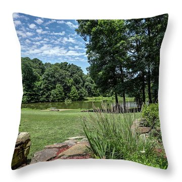 Burns Rd Yard And Pond Throw Pillow
