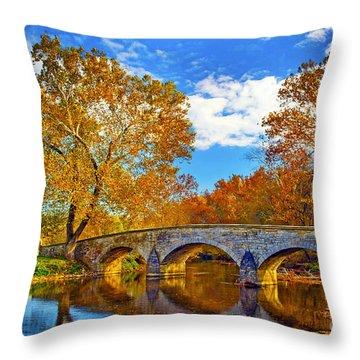 Burnside Bridge At Antietam Throw Pillow