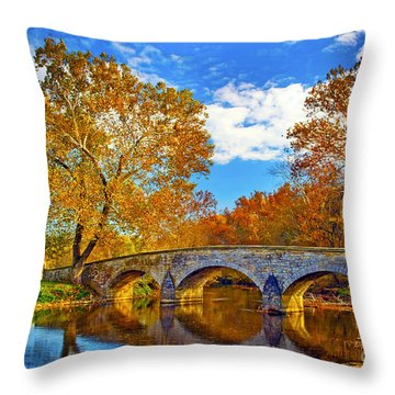 Burnside Bridge At Antietam Throw Pillow by Paul W Faust -  Impressions of Light