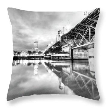 Burnside Bridge Willamette River Portland Oregon Throw Pillow