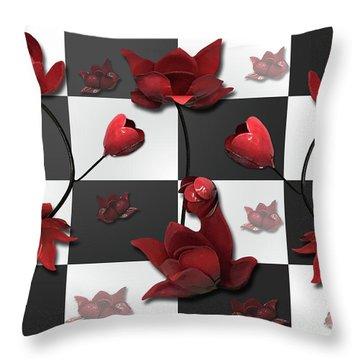 Burnt Crimson Flora Throw Pillow
