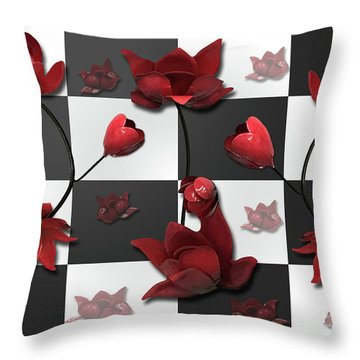 Burnt Crimson Flora Throw Pillow