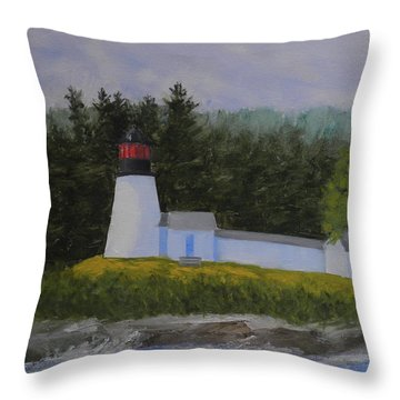 Burnt Island Light Throw Pillow