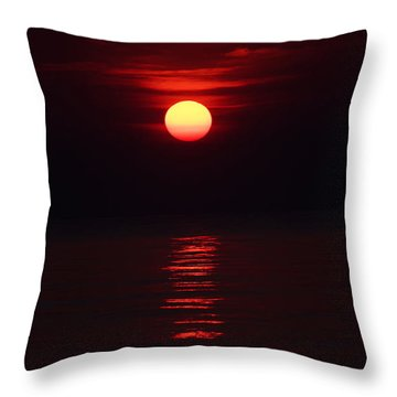 Burnt Orange Sunrise Throw Pillow