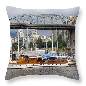 Throw Pillow featuring the painting Burrard Street Bridge, Vancouver by Rod Jellison