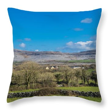 Throw Pillow featuring the photograph Burren Panorama by Juergen Klust