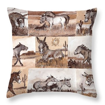 Burros Of The South West Sampler Throw Pillow
