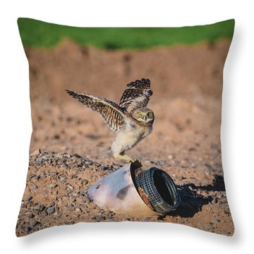 Burrowing Owlet Stretching His Wings Throw Pillow
