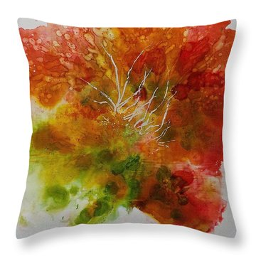 Throw Pillow featuring the painting Burst Of Nature by Carolyn Rosenberger