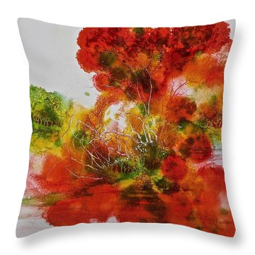 Throw Pillow featuring the painting Burst Of Nature, II by Carolyn Rosenberger