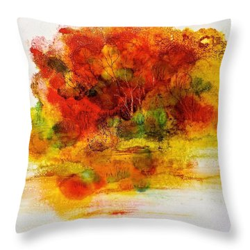 Throw Pillow featuring the painting Burst Of Nature IIi by Carolyn Rosenberger