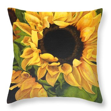 Burst Of Sunflowers Throw Pillow